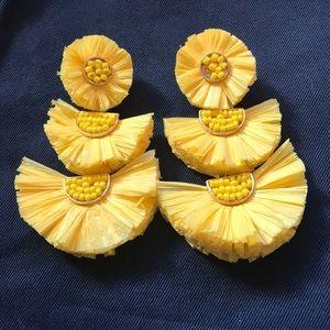 Jewelry - Summer Yellow Earrings Raffia - Nashville Boutique